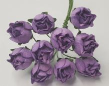15mm DARK LILAC HIP ROSE BUDS (L) Mulberry Paper Flowers